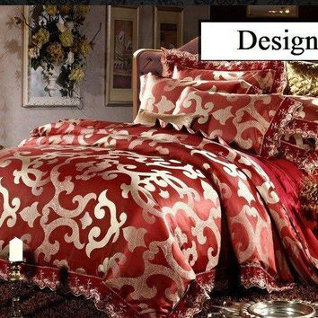 Luxury 6pc. Burgundy Jacquard Queen King 100% Cotton Duvet Cover Bedding Set