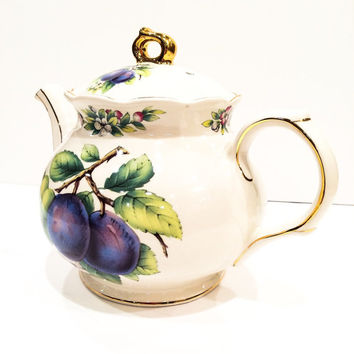 James Sadler Teapot, English, Plums, Flowers, Gilded, Bone China, Vintage