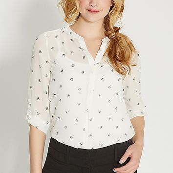 the perfect blouse in bird print | maurices