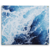 Blue Ocean Surf 2 - Wall Tapestry, Nautical Style Ocean Seascape, Deep Blue Coastal Home Interior Wall Hanging Decor. In Small Medium Large