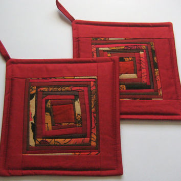 Quilted Potholders Wine Red Potholder Quilted Pot Holders Patchwork PotHolder Fabric Hot Pads Padded Potholders Set Of 2