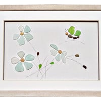 Genuine beach glass dragonfly and flowers, Framed pebble art, Unique beach home decor, Birthday, housewarming or new home wall art gift