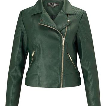 Dark Green PU Biker Jacket