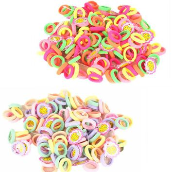 VONEGQ Free Shipping Hair Ties 50 Pcs/lot Candy Color 2.5cm diameter Seamless Elastic Ropes Girls' Hair Bands Kids Hair Accessories