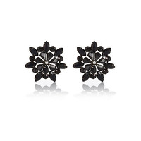 River Island Womens Black gemstone flower stud earrings