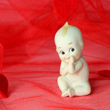 Kewpie figurine. Blue wings Kewpie. Valentine's gift. 60s  figurine. Bisque porcelain. Made in Japan. Hand painted little Cupid. Red white