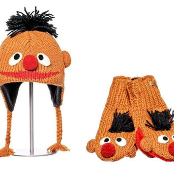 Knitwits Kids Sesame Street Knit Wool Mittens and Hat Set - Ernie