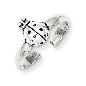 Sterling Silver Antiqued Lady Bug Toe Ring