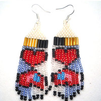End Of Year Sale Hearts Mirrored Seed Bead Earrings
