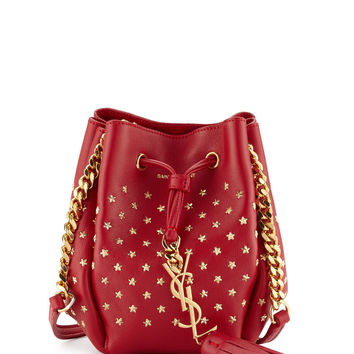 Monogram Small Star Studded Bucket Bag, Red