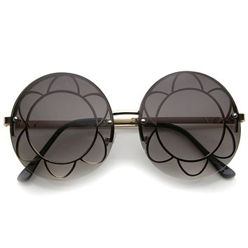 Women's Oversize Round Floral Rimless Frame A520