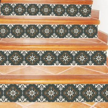 Stair Riser decal, 12 steps, Vinyl Decal, DIY project, Removable  Peel & Stick, Wall borders, Kitchen borders, bedroom borders, sr575
