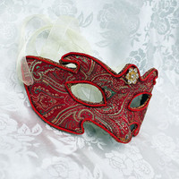 Red and Gold Satin Brocade and Paper Mache Contoured Masquerade Mask