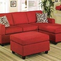 3 pc Red Microfiber sectional sofa with reversible chaise with Free pillows and ottoman