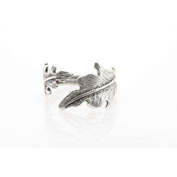Leaf Antique Silver Plated Adjustable Ring