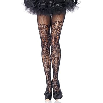 Climbing The Walls Black Floral Vine Pattern Sheer Lace Tights Stockings Hosiery