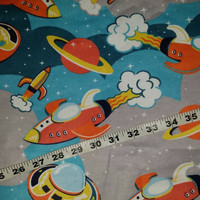 Kids Flannel fabric space ships rockets planets cotton print quilting sewing material  sew by the yard  crafting project quilter