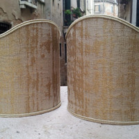 Pair of Clip-On Shield Shades Sand and Gold Rubelli Jacquard Fabric Mini Lampshade