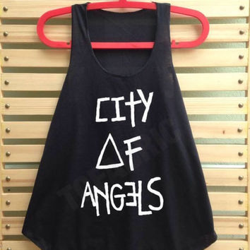 Black city of angels shirt tank top singlet clothing vest tee tunic - size S M