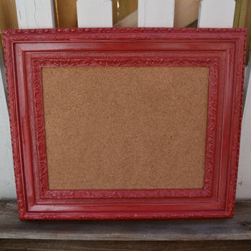 Large red Cork Board upcycled frame rustic wedding decor rustic decor kitchen decor red kitchen office decor