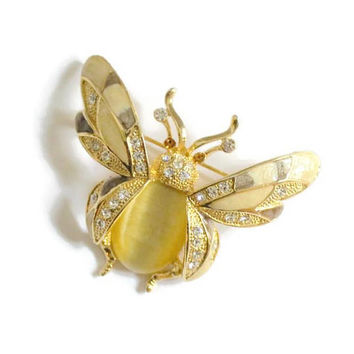 Large Bumble Bee Enamel And Rhinestone Brooch Pin, Insect Jewelry