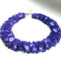 Seed Bead Necklace-Beadwork Necklace-Beadwoven Necklace-Beaded Necklace-Violet Necklace-Iris Necklace-Beaded Necklace Lace