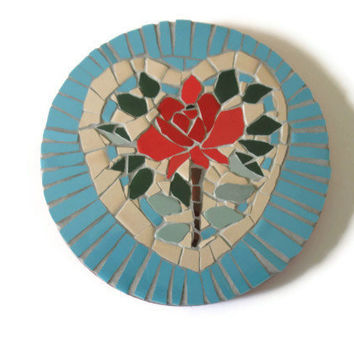 Red Rose Heart Wall Hanging Mosaic Art Home Decoration Ceramic Tiles Pink Turquoise