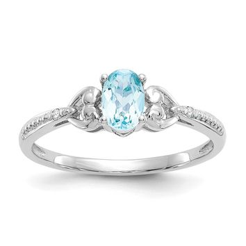 10K White Gold Light Swiss Blue Topaz Diamond Ring