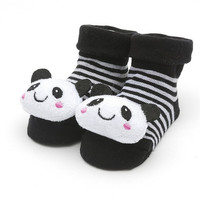 "Black and White Sock with 3D "" Panda Bear ""   for Baby Girls or Boys"