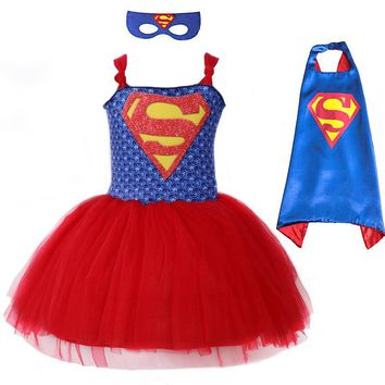 Batman Dark Knight gift Christmas Summer Superman Batman Girls Tutu Dress with Mask Super Hero Inspired Baby Costume Kids Cosplay Christmas Halloween Moana Dress AT_71_6