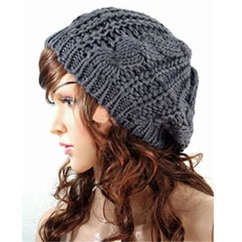 2015 Beret Braided Baggy Knit Crochet Hat Ski Cap Women Beanie Hat Lady Girls Fashion Cap Multi Color Hot Sale