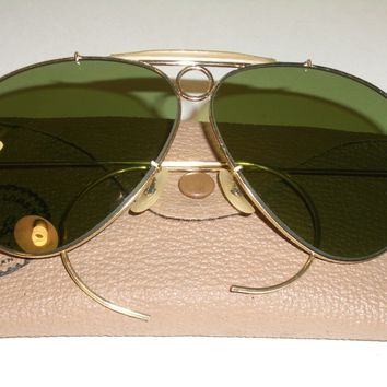 1960's VINTAGE B&L RAY BAN GP RB3 TRU GREEN UV SHOOTING AVIATORs SUNGLASSES