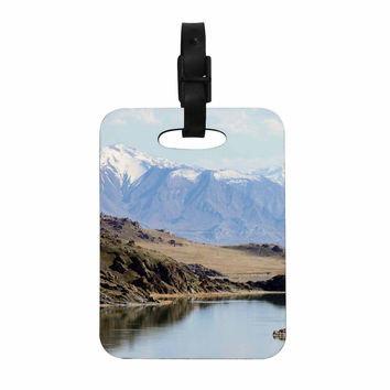 "Sylvia Coomes ""Mountain Reflection "" Brown Nature Decorative Luggage Tag"