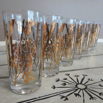 Marvelous Vintage Libbey Drinking Glasses Bamboo Shoots Gold Glasses Bird Oriental  Glassware Mid Century Barware Vintage Barware