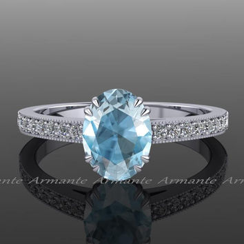 Aquamarine Engagement Ring, Diamond And Aquamarine Engagement Ring 14k White Gold Oval Aquamarine Ring Re00014w