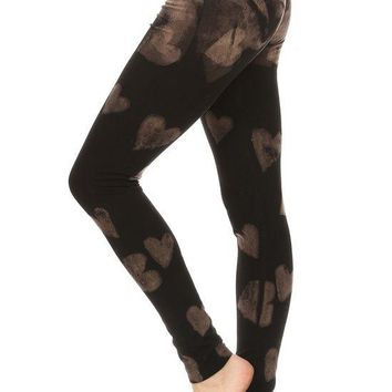 Bleach Dye Hearts Print Knit Full Length Legging with Banded Waist
