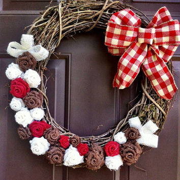 Christmas Wreath on Grapevine for Fall Front Door with Gingham Bow
