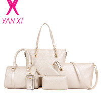 YANXI New 6 sets tote Package Embossing pu leather womens messenger shoulder Pack composite bag ladies purses and bags Golden