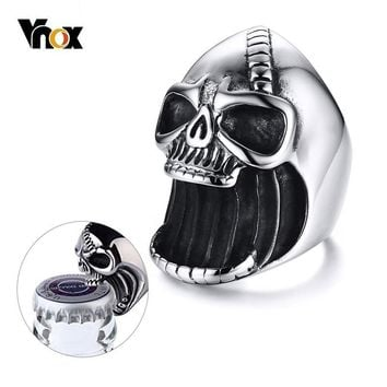 Vnox Multi Function Skull Ring for Men Bottle Opener Stainless Steel Skeleton Gothic Biker Punk Vintage Scar Jaw Male Alliance