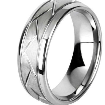 8mm Tungsten Carbide Wedding Ring With Carved Design and Polished Edges and Comfort Fit