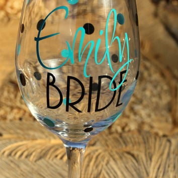 Extra large personalized Bride wine glass- With Added Polka Dots