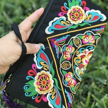 Oversized Embroidered Clutch Wristlet