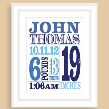 Custom Newborn Baby Boy Birth Stats 8x10 Wall Art Print Nursery Gift