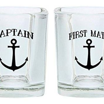 Couples Shot Glasses Captain and First Mate Nautical Anchor Funny Wedding Gift for Newlyweds Couples Gift Shot Glasses 2Pack Square Shot Glass Set Black