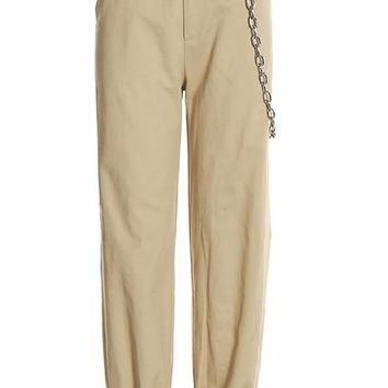 Khaki Cargo Trouser Pants with Chain