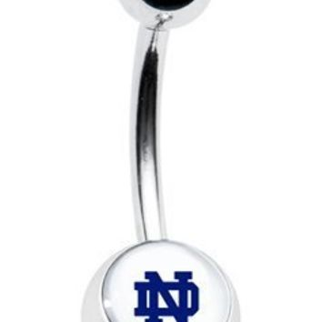 "Notre Dame Fighting Irish Classic Style Sexy Belly Navel Ring 14g, 7/16"" Length"