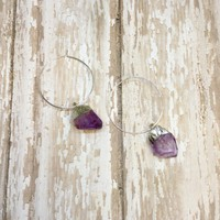 Amethyst Silver Plated Rough Raw Stone Nuggets on Hoops