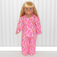 Hot Pink Flannel Pajamas with Flowers fits 18 inch Girl Dolls American Doll Clothes