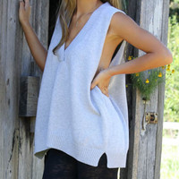 Study As She Goes Gray Oversized Pullover V-Neck Sweater Vest