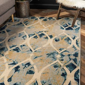 0158 Navy Blue Geometric Contemporary Area Rugs